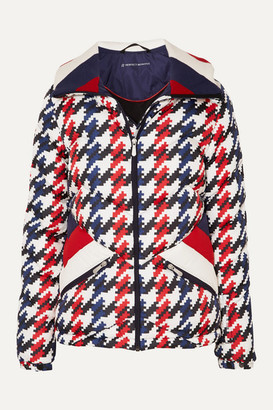 Perfect Moment Apres Duvet Houndstooth Quilted Down Ski Jacket - Navy