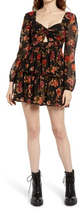 Rowa Keyhole Floral Long Sleeve Minidress