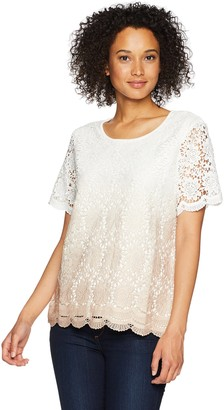 Alfred Dunner Women's Ombre Lace Sweater