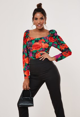 Missguided Red Rose Print Puff Sleeve Bodysuit
