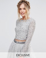 Maya Long Sleeved Crop Top in Delicate Sequin with Scalloped Back