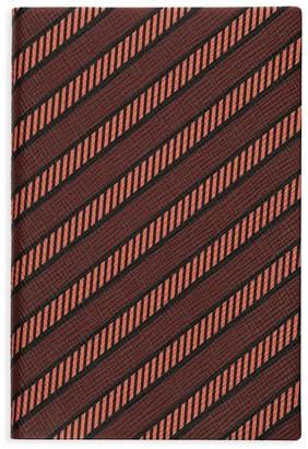 Smythson P/G Chelsea Diagonal Stripe Leather Notebook