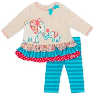 Rare Editions Baby Girls 2-Pc. Elephant Tunic & Striped Leggings Set