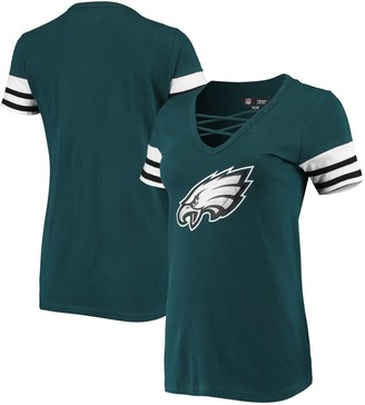 New Era Women's Midnight Green Philadelphia Eagles Contrast Sleeve Stripe V-Neck T-Shirt