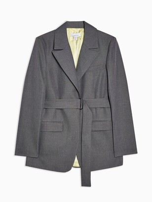 Topshop Tonic Belted Blazer - Grey