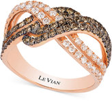 LeVian Le Vian White and Chocolate Diamond Weave Ring in 14k Rose Gold (1-1/4 ct. t.w.)