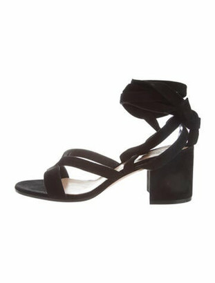Gianvito Rossi Suede Wrap-Around Sandals Black