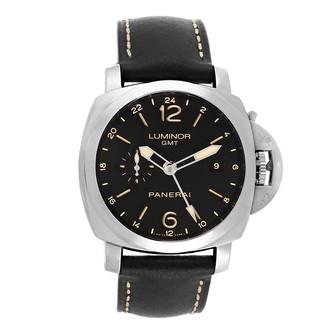 Panerai Black Stainless Steel Luminor 1950 GMT 24H Acciaio PAM00531 Men's Wristwatch 44 MM