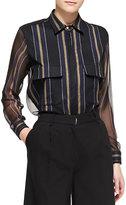 ADAM by Adam Lippes Striped Sheer-Panel Work Shirt