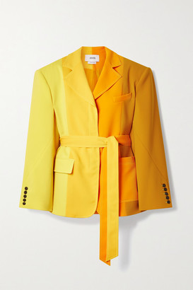 Christopher John Rogers Oversized Belted Color-block Crepe Blazer - Yellow