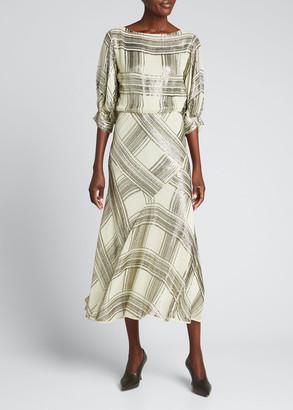 Dries Van Noten Check Sequin-Embellished Midi Dress