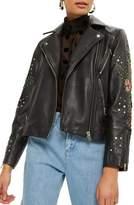 Topshop Fleur Beaded Faux Leather Biker Jacket