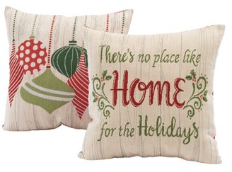 """Mainstays Home for the Holidays Decorative Throw Pillow Set, 17""""x17"""", 2 Pack"""