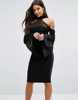 Vesper High Neck Midi Dress with Lace Detail and Exaggerated Bell Sleeve