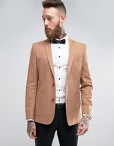Asos Skinny Blazer In Camel Wool Mix