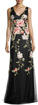 David Meister Sleeveless Floral Embroidered Tulle Gown, Black/Pink