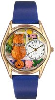 Whimsical Watches Kids' C0120007 Classic Gold Aristo Cat Royal Blue Leather And Goldtone Watch