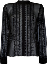 Elizabeth and James lace insert sheer blouse - women - Silk - S
