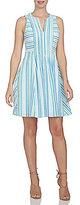 CeCe Stripe Crinkle Pintuck Dress