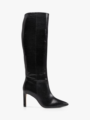 Dune Spice Leather Reptile Print Knee High Stiletto Heel Boots, Black