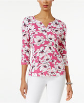Karen Scott Floral-Print Henley Top, Only at Macy's