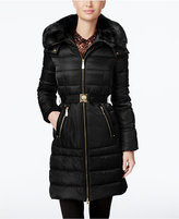 Vince Camuto Faux-Fur-Collar Belted Down Coat
