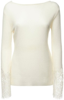 Ermanno Scervino Cashmere & Lace Knit Top