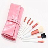 Pure Vie 7 Pcs Professional Cosmetic Makeup Brushes Set with Travel Pouch - Essential Make Up Tools Kit for Professional as well as Personal Use