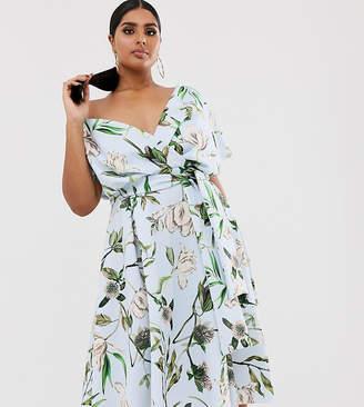 Asos DESIGN Curve fallen shoulder midi prom dress with tie detail in floral print-Multi
