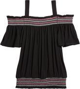 Design History Girls Girl's Smocked Cold-Shoulder Top, Size S-XL