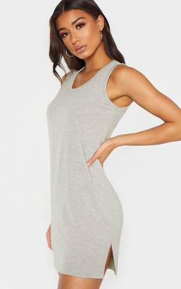 PrettyLittleThing Grey Sleeveless Raw Edge Split T Shirt Dress