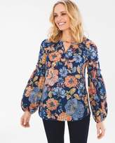Chico's August Floral Drama-Sleeve Top
