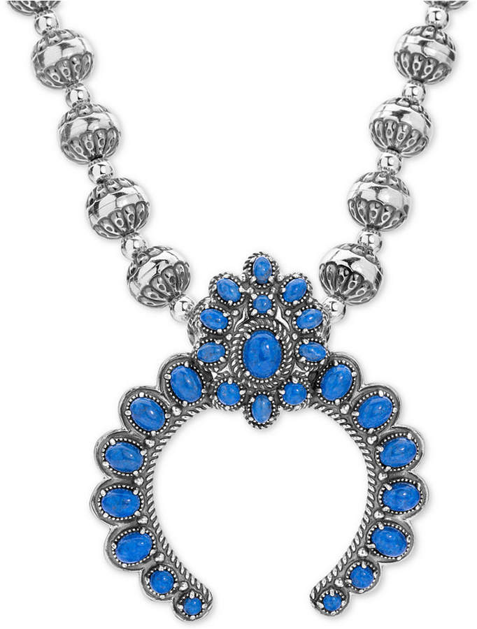 """American West Lapis Lazuli Beaded Pendant Necklace (25-1/3 ct. t.w.) in Sterling Silver, 17"""" + 3"""" extender"""