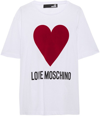 Love Moschino Flocked Printed Cotton-jersey T-shirt