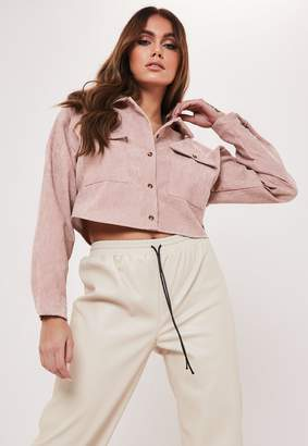 Missguided Taupe Cord Cropped Shirt