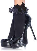 Leg Avenue Black Lace Ruffle Bow Ankle Socks