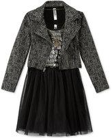 Beautees 3-Piece Moto Jacket & Dress, Girls (7-16)