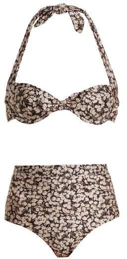 Zimmermann Prima 50's Cherry Floral Print Tie Detail Bikini - Womens - Purple Multi