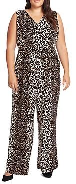 Vince Camuto Plus Leopard Stripe Belted Jumpsuit