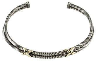 David Yurman Two-Tone Double Row X Cable Collar Necklace