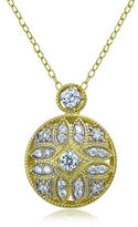Lord & Taylor Sterling Silver and Cubic Zirconia Filigree Pendant Necklace