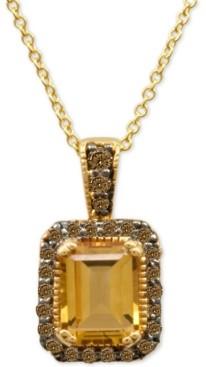 LeVian Le Vian Chocolatier Cinnamon Citrine (1-1/3 ct. t.w.) and Diamond Pendant Necklace (1/4 ct. t.w.) in 14k Gold