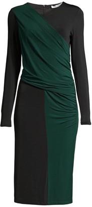 HUGO BOSS Eretha Viscose Stretch Jersey Colorblock Sheath Dress
