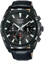 Pulsar Solar Men's Chronograph Black Leather Strap Watch
