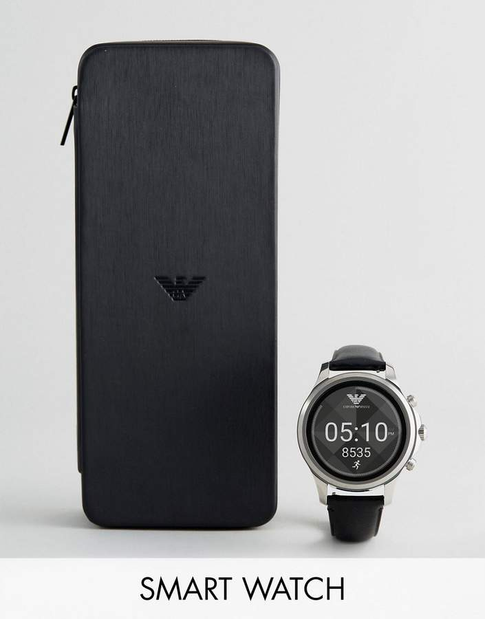 Emporio Armani Connected Leather Smart Watch In Black ART5003