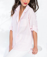 Milan Kiss Women's Button Down Shirts PINK-STRIPED - Pink & White Stripe Button-Up - Women