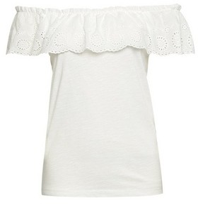 Dorothy Perkins Womens White Broderie Tier Bardot Top, White