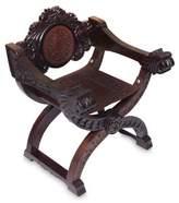 Cedar and leather chair, 'Lio Head'