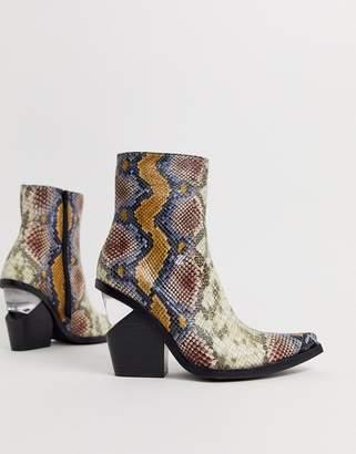 Jeffrey Campbell Walton snake print heel boot-Multi
