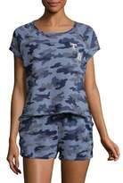Tommy Hilfiger Camo-Print Cropped Pajama Top